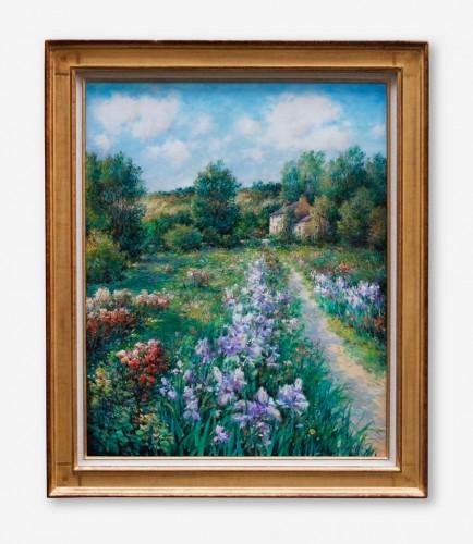 Jardins fleuris – huile sur toile