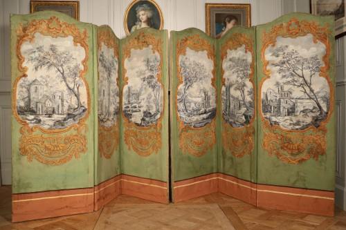 Paire de paravents à paysages, époque Louis XV