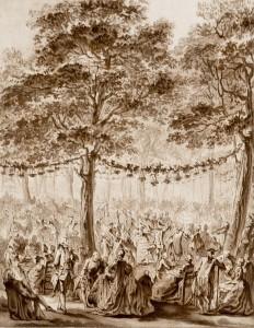 Fête dans le parc de Saint Cloud, gravure imprimée en bistre. XVIII ème.