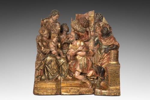 la visite des rois mages . Bois polychrome et doré .Élément de retable Italie vers 1530