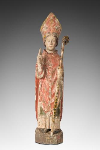 représentation de Saint Eloi en évêque bois de chêne polychrome circa 1500