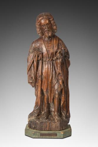 représentation de st Jean Baptiste .bois de chêne école du Nord XVI eme siècle