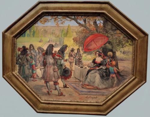 Dessin aquarellé Léon LEGAT