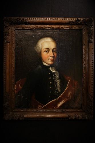 Huile sur toile d'un gentilhomme Louis XV