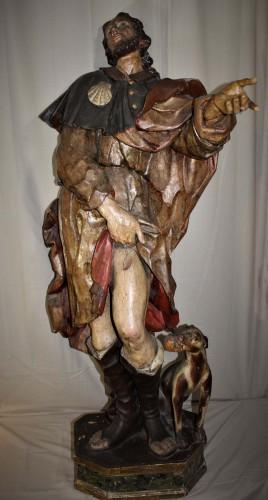 Saint Roch en bois sculpté polychrome du XVIIème siècle