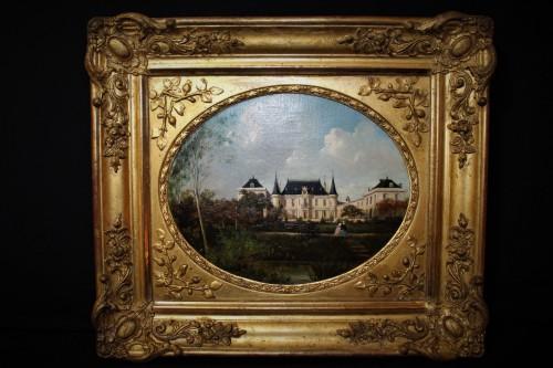 Huile sur toile petit château pays de Loire