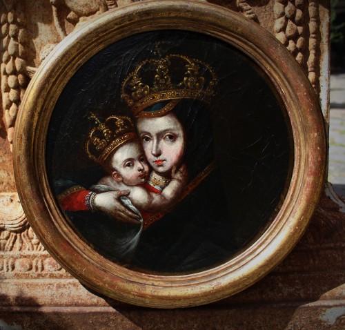 Portrait de vierge à l'enfant, école de CUZCO