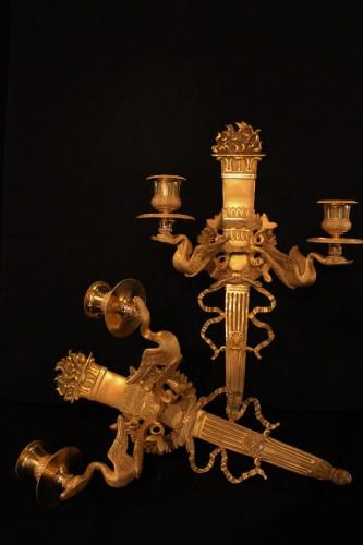 Paire d'appliques bronze doré Directoire