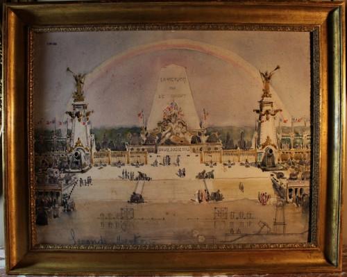 Dessin aquarellé «Gloire à nos poilus»