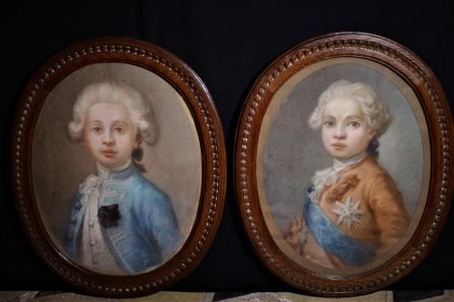 Paire de pastels Louis XVI et Duc d'Angoulême