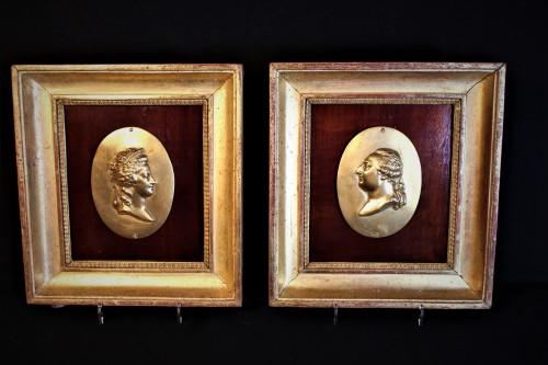 Paire de portraits bronze Marie-Antoinette et Louis XVI