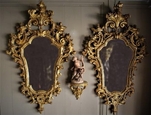 Paire de grands miroirs bois doré Vénitiens XVIIIème
