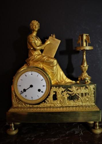 Pendule allégorique en bronze doré époque Empire