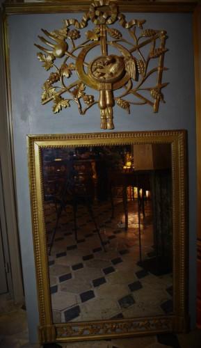 Trumeau en bois doré et laqué Louis XVI