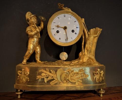 Pendulette bronze enfant au tambour Directoire
